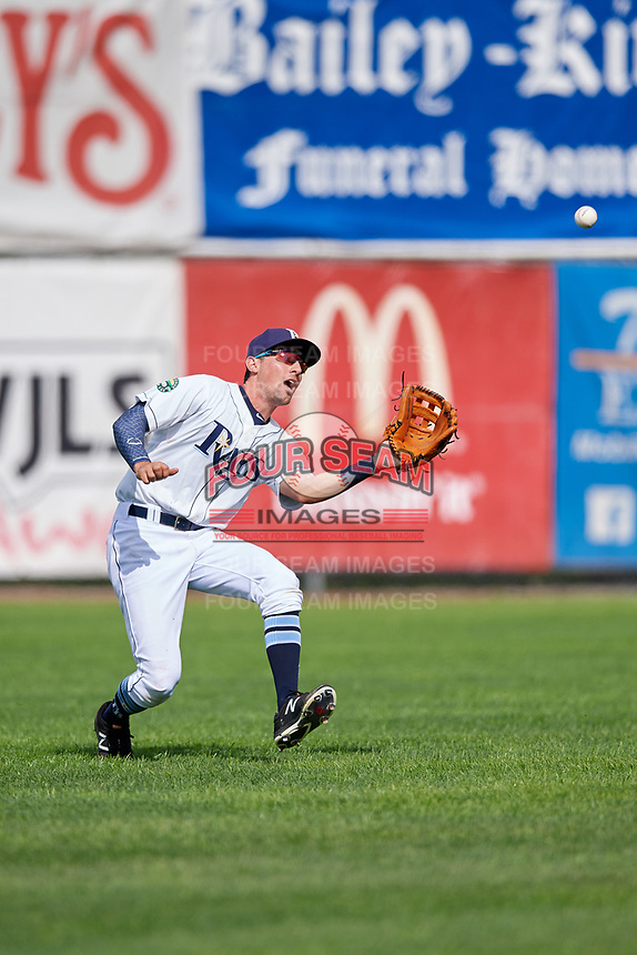 Princeton Rays center fielder Jordan Qsar (8) tracks a fly ball during the second game of a doubleheader against the Greeneville Reds on July 25, 2018 at Hunnicutt Field in Princeton, West Virginia.  Greeneville defeated Princeton 8-7.  (Mike Janes/Four Seam Images)