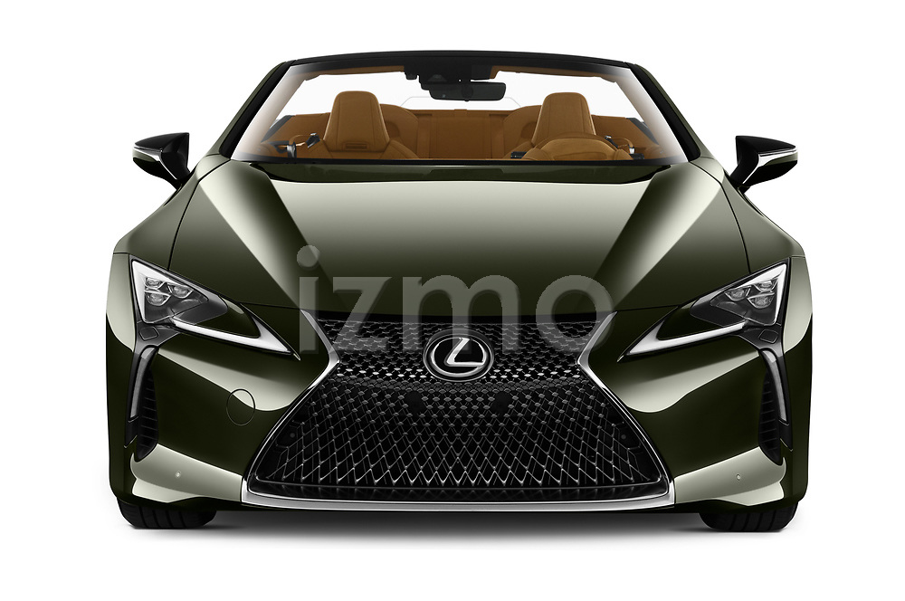 Car photography straight front view of a 2021 Lexus LC 500-Base 2 Door Convertible Front View