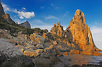 Rockformation Pedra Longa at last light, Costa Smeralda, Sardinia, Italy