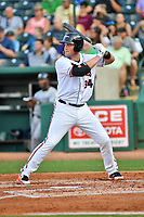 Northern Divisions first baseman Seamus Curran (34) of the Delmarva Shorebirds swings at a pitch during the South Atlantic League All Star Game at First National Bank Field on June 19, 2018 in Greensboro, North Carolina. The game Southern Division defeated the Northern Division 9-5. (Tony Farlow/Four Seam Images)