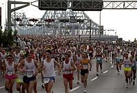 FILE - Les marathoniens sur le Pont Jacques-Cartier<br /> <br />  dans les annees 90 (date inconnue)<br /> <br /> PHOTO  :  Agence Quebec Presse