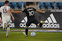 SAN JOSE, CA - SEPTEMBER 5: Cristian Espinoza #10 of the San Jose Earthquakes is marked by Sam Vines #13 of the Colorado Rapids during a game between Colorado Rapids and San Jose Earthquakes at Earthquakes Stadium on September 5, 2020 in San Jose, California.