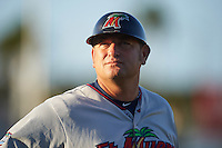 Fort Myers Miracle manager Jeff Smith (40) during a game against the Daytona Tortugas on April 17, 2016 at Jackie Robinson Ballpark in Daytona, Florida.  Fort Myers defeated Daytona 9-0.  (Mike Janes/Four Seam Images)