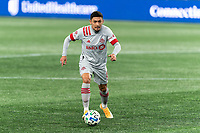 FOXBOROUGH, MA - OCTOBER 7: Marco Delgado #8 of Toronto FC brings the ball forward during a game between Toronto FC and New England Revolution at Gillette Stadium on October 7, 2020 in Foxborough, Massachusetts.