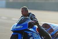 Jul, 9, 2011; Joliet, IL, USA: NHRA pro stock motorcycle rider Craig Treble during qualifying for the Route 66 Nationals at Route 66 Raceway. Mandatory Credit: Mark J. Rebilas-
