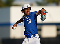 IMG Academy Ascenders pitcher Davion Hickson (18) during a game against the Montverde Academy Eagles on April 8, 2021 at IMG Academy in Bradenton, Florida.  (Mike Janes/Four Seam Images)