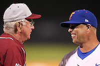 """Florida Gators Kevin O'Sullivan #7 talks to Florida State Coach Mike Martin before a game vs. the Florida State Seminoles in the """"Florida Four"""" at George M. Steinbrenner Field in Tampa, Florida;  March 1, 2011.  Florida State defeated Florida 5-3.  Photo By Mike Janes/Four Seam Images"""