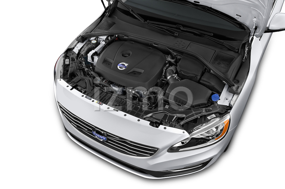Car Stock 2015 Volvo V60 T5 Drive-E FWD Door wagon Engine high angle detail view