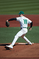 Charlotte 49ers starting pitcher Bryce McGowan (19) in action against the Florida Atlantic Owls at Hayes Stadium on April 2, 2021 in Charlotte, North Carolina. The 49ers defeated the Owls 9-5. (Brian Westerholt/Four Seam Images)