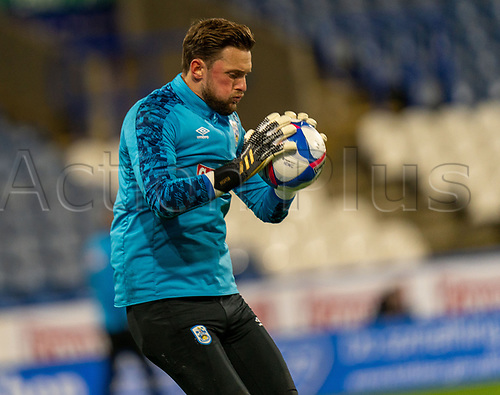 3rd November 2020. The John Smiths Stadium, Huddersfield, Yorkshire, England; English Football League Championship Football, Huddersfield Town versus Bristol City; Goalie Ben Hamer of Huddersfield Town warm up