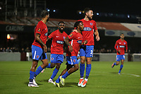 Mauro Vilhete of Dagenham and Redbridge scores the first goal for his team and celebrates with his team mates during Dagenham & Redbridge vs Weymouth, Vanarama National League Football at the Chigwell Construction Stadium on 14th September 2021