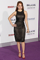 """LOS ANGELES, CA - DECEMBER 18: Actress Debby Ryan arrives at the World Premiere Of Open Road Films' """"Justin Bieber's Believe"""" held at Regal Cinemas L.A. Live on December 18, 2013 in Los Angeles, California. (Photo by Xavier Collin/Celebrity Monitor)"""
