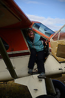 Cathy Hart is delighted with the view upon arriving in the Sheenjek River valley, which flows south from Alaska's Brooks Range into the Yukon River Flats in the Arctic National Wildlife Refuge, on a day in late August.