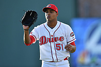 Starting pitcher Darwinzon Hernandez (51) the Greenville Drive warms up prior to a game against the Lexington Legends on Wednesday, April 12, 2017, at Fluor Field at the West End in Greenville, South Carolina. Greenville won, 4-1. (Tom Priddy/Four Seam Images)