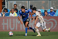 SAN JOSE, CA - AUGUST 8: Shea Salinas #6 of the San Jose Earthquakes is marked by Kim Moon-Hwan #33 of Los Angeles FC during a game between Los Angeles FC and San Jose Earthquakes at PayPal Park on August 8, 2021 in San Jose, California.