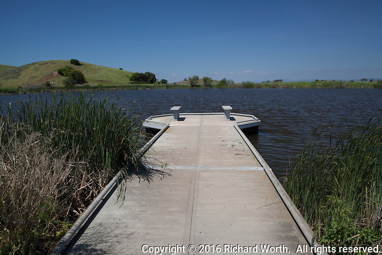 An observation deck that for months had been stranded on dry ground by drought, once again floats at Coyote Hills Regional Park along San Francisco Bay.