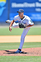 Asheville Tourists pitcher Jimmy Endersby (22) delivers a pitch during a game against the Bowling Green Hot Rods on May 30, 2021 at McCormick Field in Asheville, NC. (Tony Farlow/Four Seam Images)