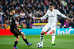 Lorenzo Insigne of SSC Napoli competes for the ball with Carlos Henrique Casemiro of Real Madrid  during the match of Champions League between Real Madrid and SSC Napoli  at Santiago Bernabeu Stadium in Madrid, Spain. February 15, 2017. (ALTERPHOTOS)