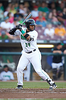 Hendrik Clementina (24) of the Dayton Dragons at bat against the Bowling Green Hot Rods at Fifth Third Field on June 9, 2018 in Dayton, Ohio. The Hot Rods defeated the Dragons 1-0.  (Brian Westerholt/Four Seam Images)