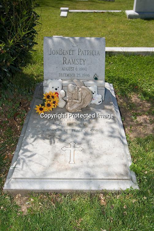 Jon Benet's gravesite in Marietta, Georgia taken on April 29, 2007. She died December 26, 1996. Gravesite located in Saint James Episcopal Cemetery.