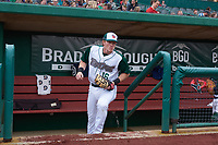 Fort Wayne TinCaps first baseman Nick Gatewood (16) jogs onto the field between innings of a Midwest League game against the Kane County Cougars at Parkview Field on May 1, 2019 in Fort Wayne, Indiana. Fort Wayne defeated Kane County 10-4. (Zachary Lucy/Four Seam Images)