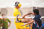 RAOLANG Alongkon of Thailand Team plays a shot against India during their Beach Sepaktakraw Men's team competition on Day Eight of the 5th Asian Beach Games 2016 at My Khe Beach on 01 October 2016, in Danang, Vietnam. Photo by Marcio Machado / Power Sport Images