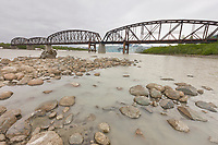 Million Dollar bridge (circa 1910) crossing the Copper River, southcentral, Alaska.