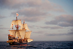 Exploration, The Golden Hind, historic sailing ship, Sir Francis Drake's Golden Hind replica under full sail, Pacific Ocean, commemorating Drake's around the world (1577-1580) Voyage of Discovery, Pacific Ocean, off the coast of Washington State, .