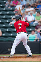 Jose Trevino (7) of the Hickory Crawdads at bat against the West Virginia Power at L.P. Frans Stadium on August 15, 2015 in Hickory, North Carolina.  The Power defeated the Crawdads 9-0.  (Brian Westerholt/Four Seam Images)