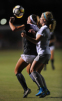 NWA Democrat-Gazette/ANDY SHUPE<br /> Arkansas' Carly Hoke (left) and Penn State's Emily Ogle vie for the ball Friday, Aug. 25, 2017, during the Razorbacks' 4-2 loss at Razorback Field in Fayetteville. Visit nwadg.com/photos to see more photographs from the match.