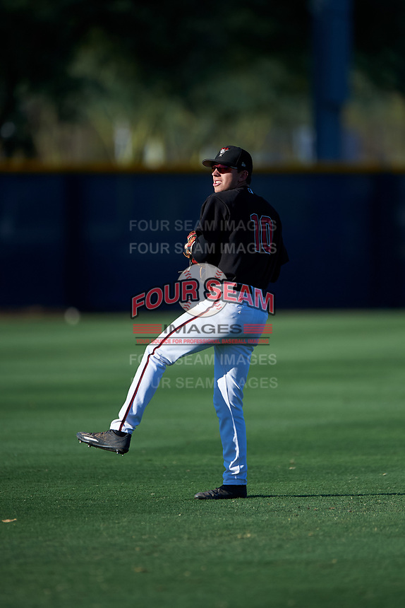 AZL D-backs infielder Angelo Altavilla (10) warms up before an Arizona League game against the AZL Angels on July 20, 2019 at Salt River Fields at Talking Stick in Scottsdale, Arizona. The AZL Angels defeated the AZL D-backs 11-4. (Zachary Lucy/Four Seam Images)