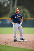T.J. DelMonte (62), from Ellicott City, Maryland, while playing for the Padres during the Baseball Factory Pirate City Christmas Camp & Tournament on December 28, 2017 at Pirate City in Bradenton, Florida.  (Mike Janes/Four Seam Images)
