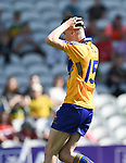 Mark McInerney of Clare laments a failed shot at goal during their Munster Minor football final at Pairc Ui Chaoimh. Photograph by John Kelly.