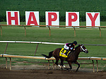 Art Collector, ridden by jockey Brian Hernandez Jr., breaks away from the pack in the final stretch of the Runhappy Ellis Park Derby's 10th race for a $200,000 purse at Ellis Park in Henderson, Ky., Sunday afternoon, Aug. 9, 2020. Art Collector won the race handily. The race is a qualifier for the upcoming Sept. 5, 2020, Kentucky Derby, with 85 points (50-20-10-5) up for grabs.