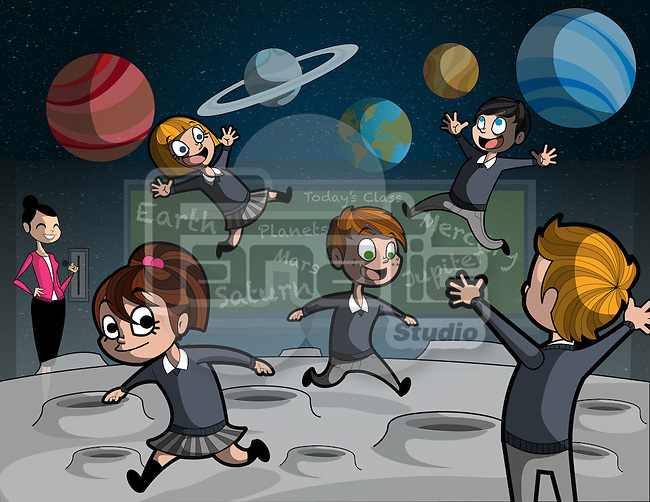 Illustration of teacher with happy students in geography class