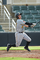 Jesse Medrano (10) of the West Virginia Power follows through on his swing against the Kannapolis Intimidators at Kannapolis Intimidators Stadium on July 25, 2018 in Kannapolis, North Carolina. The Intimidators defeated the Power 6-2 in 8 innings in game one of a double-header. (Brian Westerholt/Four Seam Images)