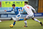 St Johnstone v Ross County… McDiarmid Park..     SPFL<br />Danny Swanson is closed down by Christopher Routis<br />Picture by Graeme Hart.<br />Copyright Perthshire Picture Agency<br />Tel: 01738 623350  Mobile: 07990 594431