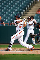 Bowie Baysox center fielder Glynn Davis (10) at bat during the first game of a doubleheader against the Akron RubberDucks on June 5, 2016 at Prince George's Stadium in Bowie, Maryland.  Bowie defeated Akron 12-7.  (Mike Janes/Four Seam Images)