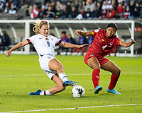 HOUSTON, TX - JANUARY 31: Lindsey Horan #9 of the USA attacks against Hilary Jaen #4 of Panama during a game between Panama and USWNT at BBVA Stadium on January 31, 2020 in Houston, Texas.