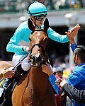 LOUISVILLE, KY - MAY 06: Florent Geroux, aboard Roca Rojo #6, after winning the Churchill Distaff Turf Mile Stakes on Kentucky Derby Day at Churchill Downs on May 6, 2017 in Louisville, Kentucky. (Photo by Candice Chavez/Eclipse Sportswire/Getty Images)