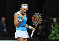 Arena Loire,  Trélazé,  France, 16 April, 2016, Semifinal FedCup, France-Netherlands, Second match: Kristina Mldenovic vs Richel Hogenkamp (NED), Pixtured : Kristina Mladonovic jubilates a point<br />