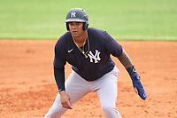 New York Yankees Anthony Garcia (66) leads off first base during an Extended Spring Training game against the Detroit Tigers on June 19, 2021 at Tigertown in Lakeland, Florida.  (Mike Janes/Four Seam Images)