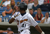 August 24, 2003:  Ben Francisco of the Lake County Captains, Class-A affiliate of the Cleveland Indians, during a South Atlantic League game at Classic Park in Eastlake, OH.  Photo by:  Mike Janes/Four Seam Images