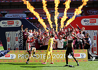 Brentford celebrate winning the Championship Trophy and promotion to the Premier League during Brentford vs Swansea City, Sky Bet EFL Championship Play-Off Final Football at Wembley Stadium on 29th May 2021