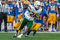Miami defensive back Gurvan Hall Jr (26) returns a fumble.The Miami Hurricanes football team defeated the Pitt Panthers 16-12 in a game at Heinz Field, Pittsburgh, Pennsylvania on October 26, 2019.