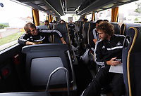 Wednesday 28 August 2013<br /> Pictured L-R: Michu and Jose Canas on the team bus en route to Cardiff Airport.<br /> Re: Swansea City FC players and staff en route for their UEFA Europa League, play off round, 2nd leg, against Petrolul Ploiesti in Romania.