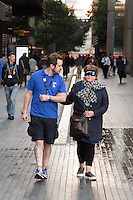 Wendi Peters<br /> takes part in the Guide Dog blindfold challenge at the launch of Guide Dogs 'Move it for Money' fundraising campaign, London.<br /> <br /> <br /> ©Ash Knotek  D3158  04/10/2016