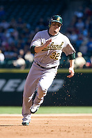 September 28, 2008: Oakland Athletics' Jack Cust rounds third base and scores on Chris Denorfia's double during a game against the Seattle Mariners at Safeco Field in Seattle, Washington.