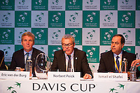 13-09-12, Netherlands, Amsterdam, Tennis, Daviscup Netherlands-Swiss,  Draw, Eric van der Burg, Deputy mayor of Amsterdam, Norbert Peick(M) and Ismail el Shafei,