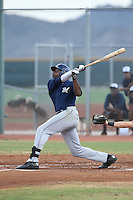 Demi Orimoloye (18) of the AZL Brewers bats during a game against the AZL Reds at the Cincinnati Reds Spring Training Complex on July 5, 2015 in Goodyear, Arizona. Reds defeated Brewers, 9-4. (Larry Goren/Four Seam Images)
